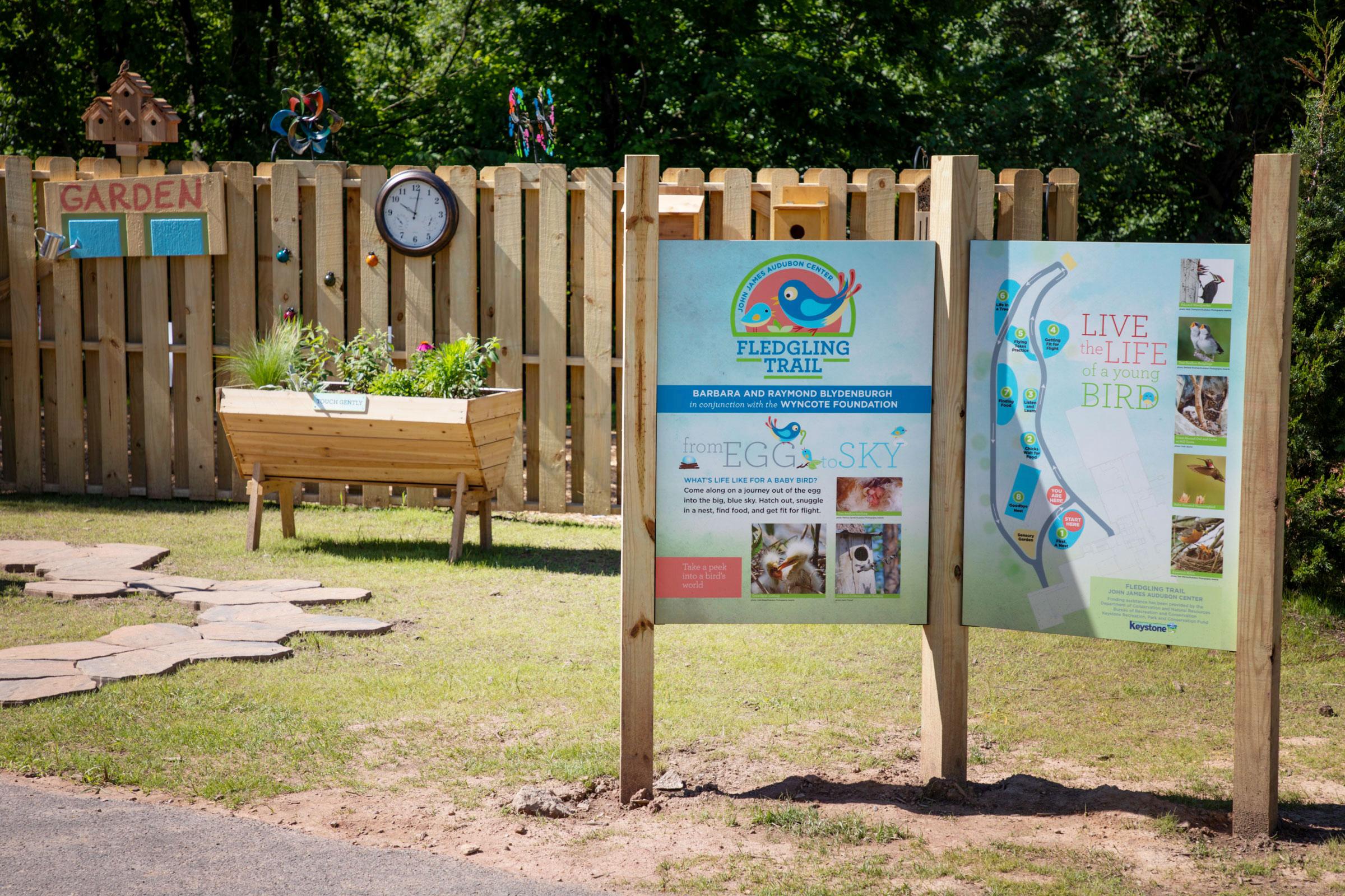 The main entrance to the Fledgling Trail and interactive children's garden at the John James Audubon Center at Mill Grove on Tuesday, June 4, 2019 in Audubon, Pennsylvania. Photo: Luke Franke/Audubon