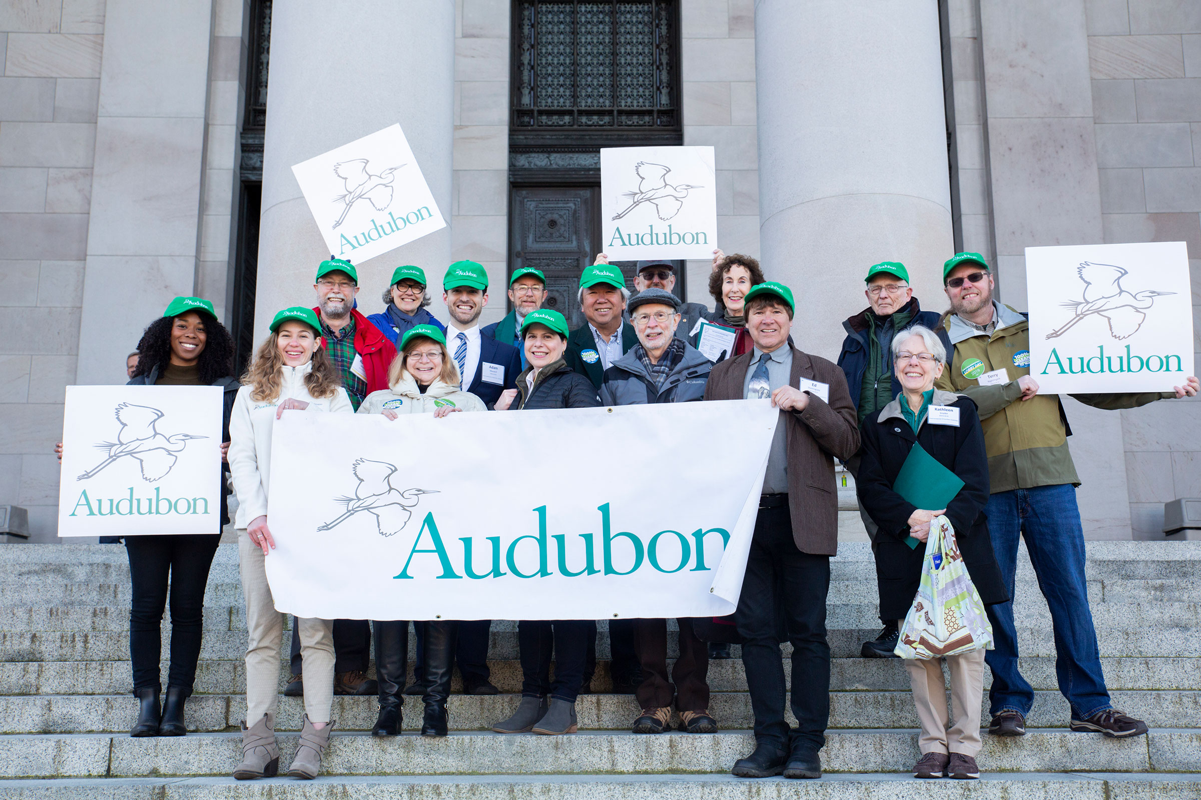 Audubon members and staff, along with others from the Environmental Priorities Coalition, visit the state capitol on Environmental Lobby Day in Olympia, Washington. Luke Franke/Audubon