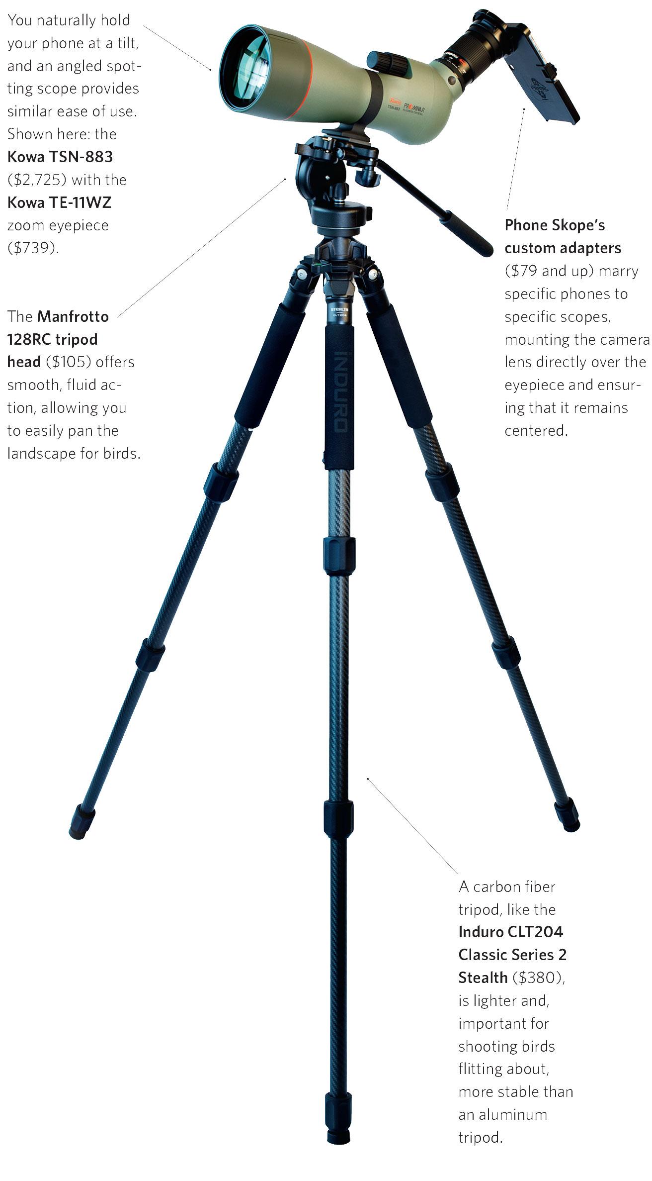 Clockwise from top left: Kowa TSN-883 scope, Kowa TE-11WZ zoom eyepiece, Phone Skope adapter, Induro CLT204 tripod, and Manfrotto 128RC camera head. Mike Fernandez/Audubon