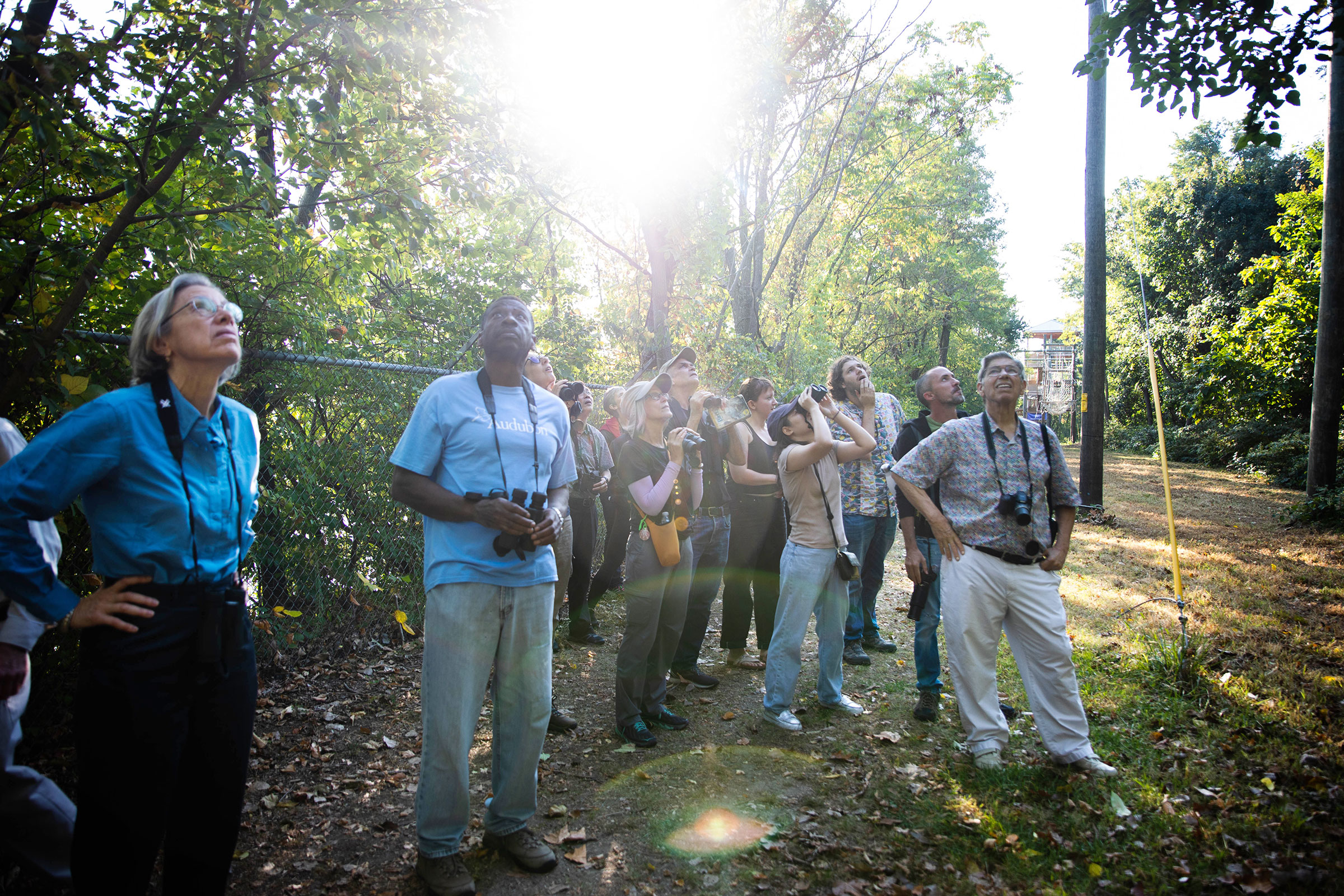 Keith Russell, Urban Conservation Education Manager, leads a morning bird walk during the bird-off event in Philadelphia. Dominic Arenas/Audubon