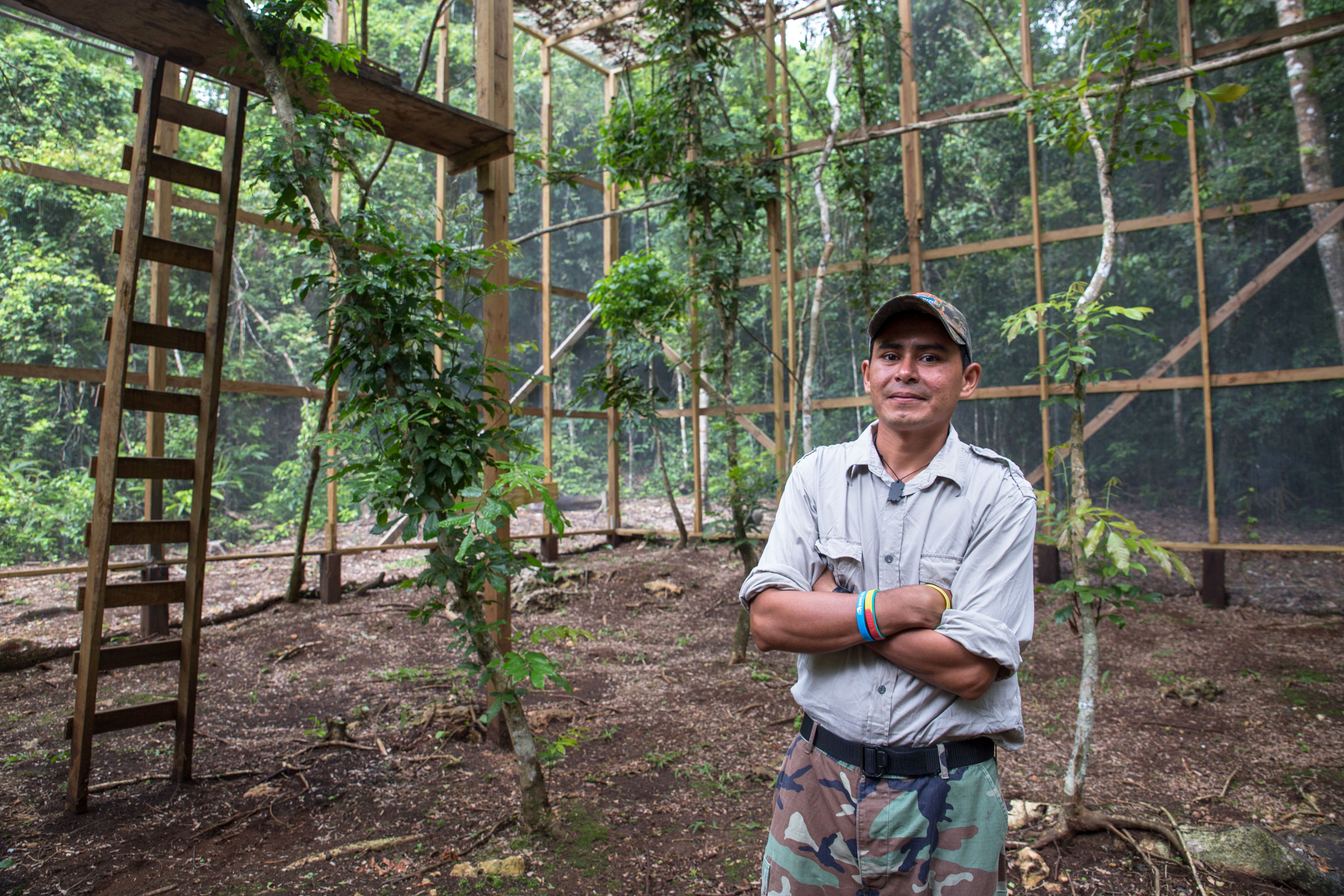Biologist Boris Arevalo stands in FCD's aviary; macaw chicks graduate to the aviary once they fledge. Camilla Cerea/Audubon