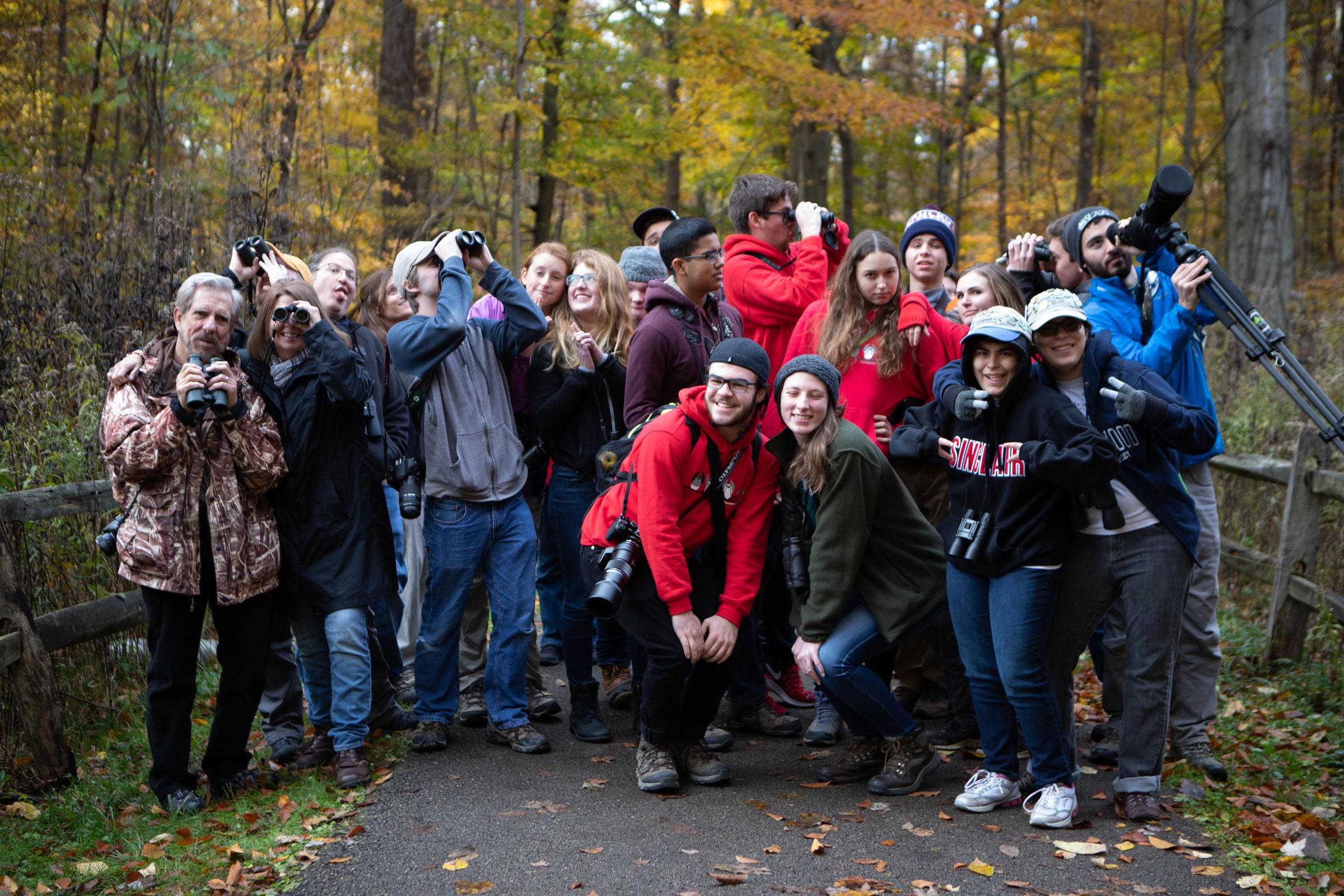 A class photo of current OYBC members with their mentors Kenn and Kimberly Kaufman (far left). Camilla Cerea/Audubon