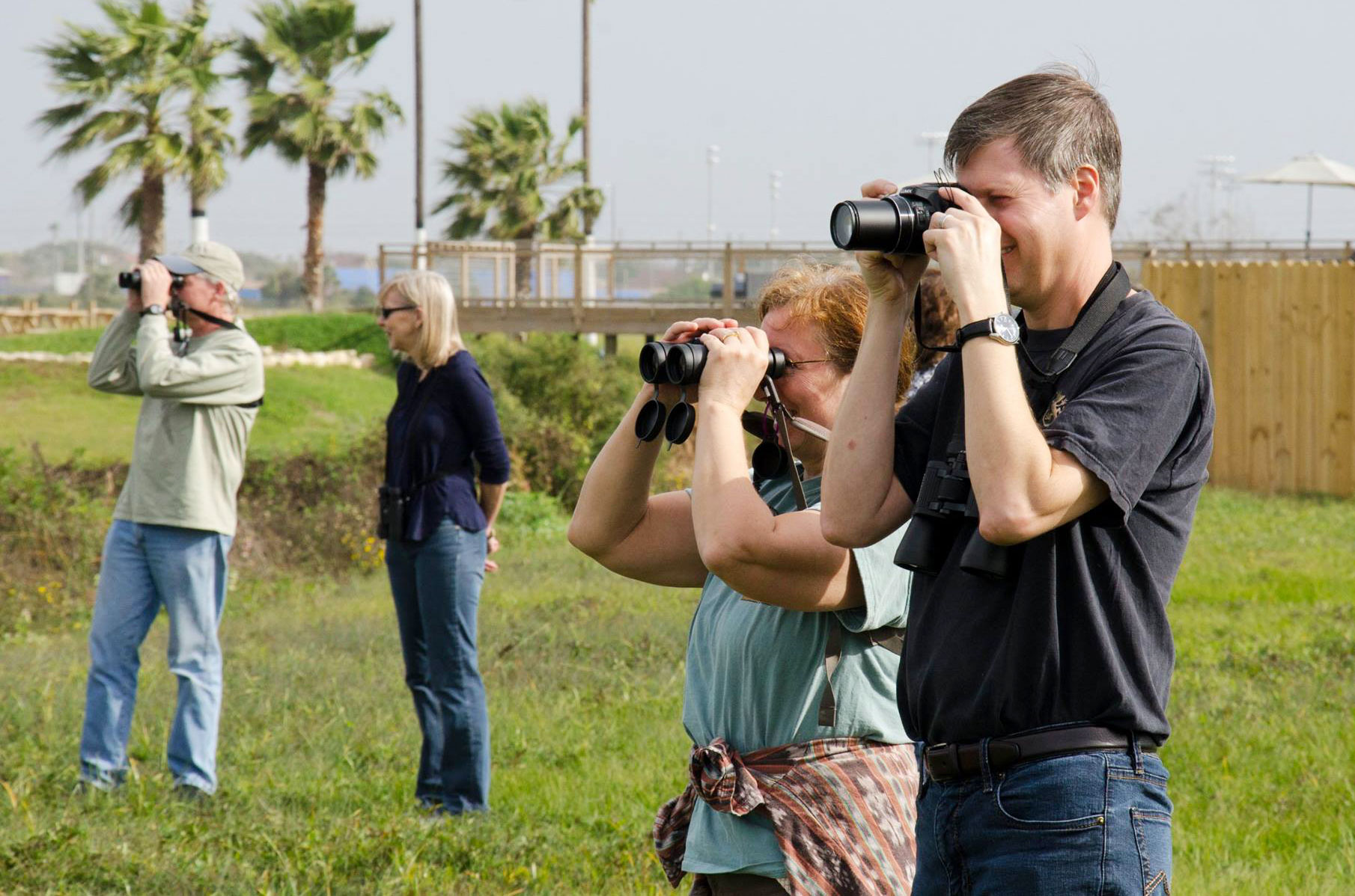 In Texas, you don't need a scarf—only binoculars—to enjoy wintertime birding. Courtesy of Galveston Island Nature Tourism Council