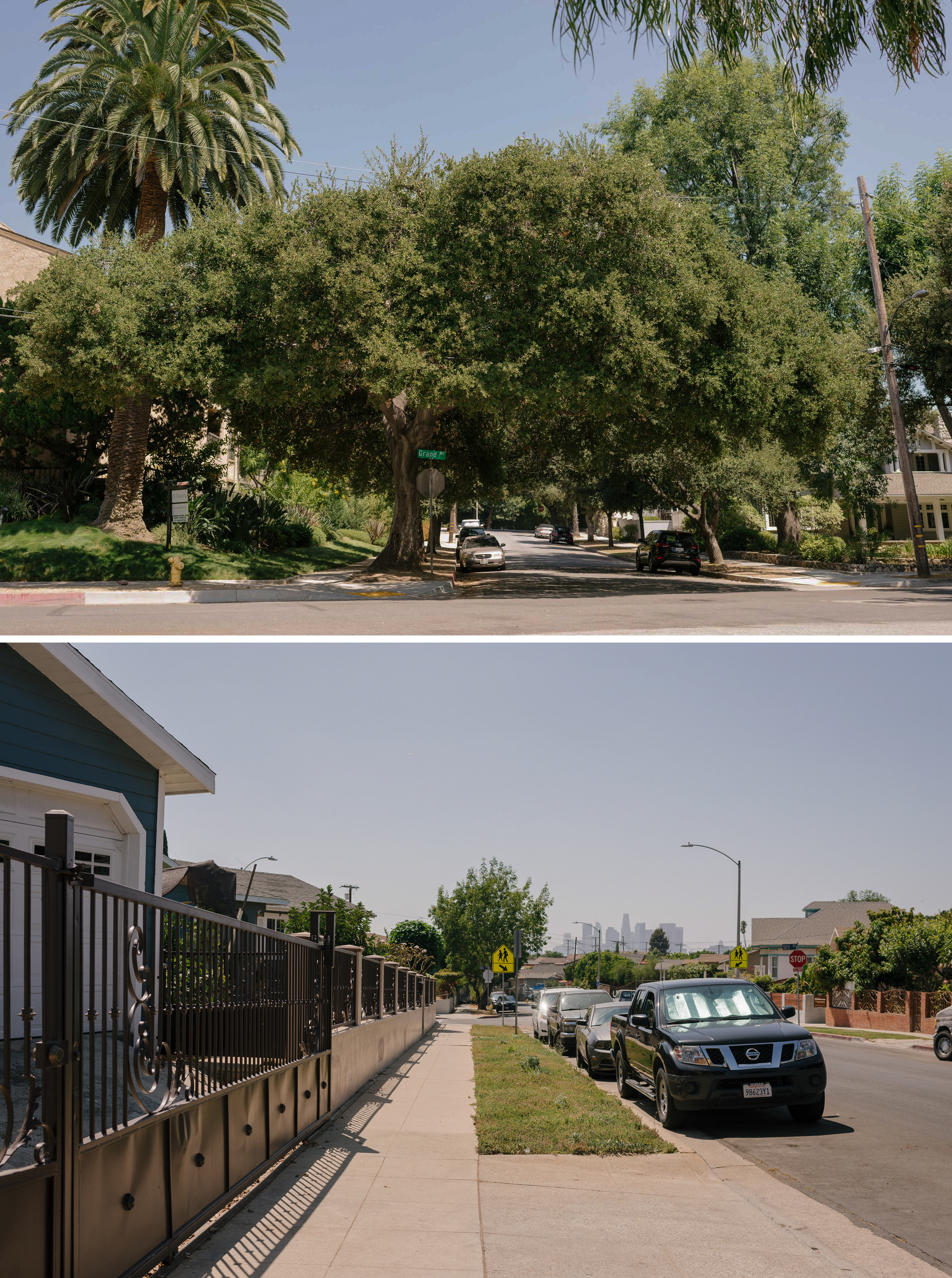 Recent research shows that affluent communities (top) in L.A. county have significantly more and larger street trees than lower-income neighborhoods. Photos: Carmen Chan
