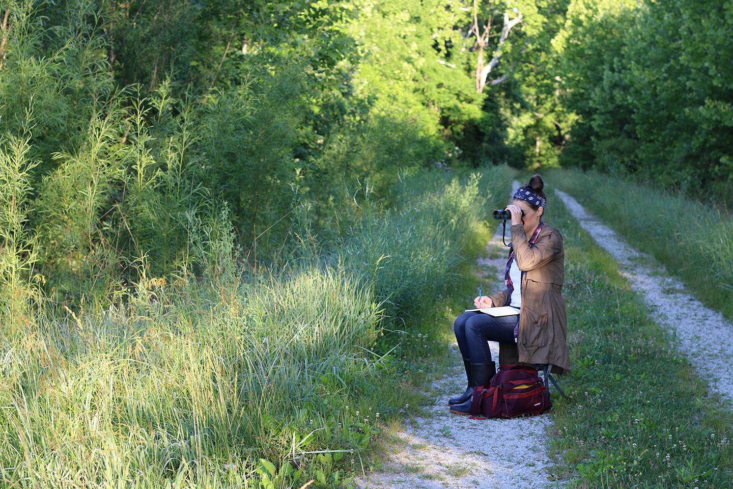 Warnick's necessities include binoculars and a stool. They let her capture the infinite details in field marks, while allowing her to stay comfy and keep a steady hand over long hours of sketching. Shae Warnick