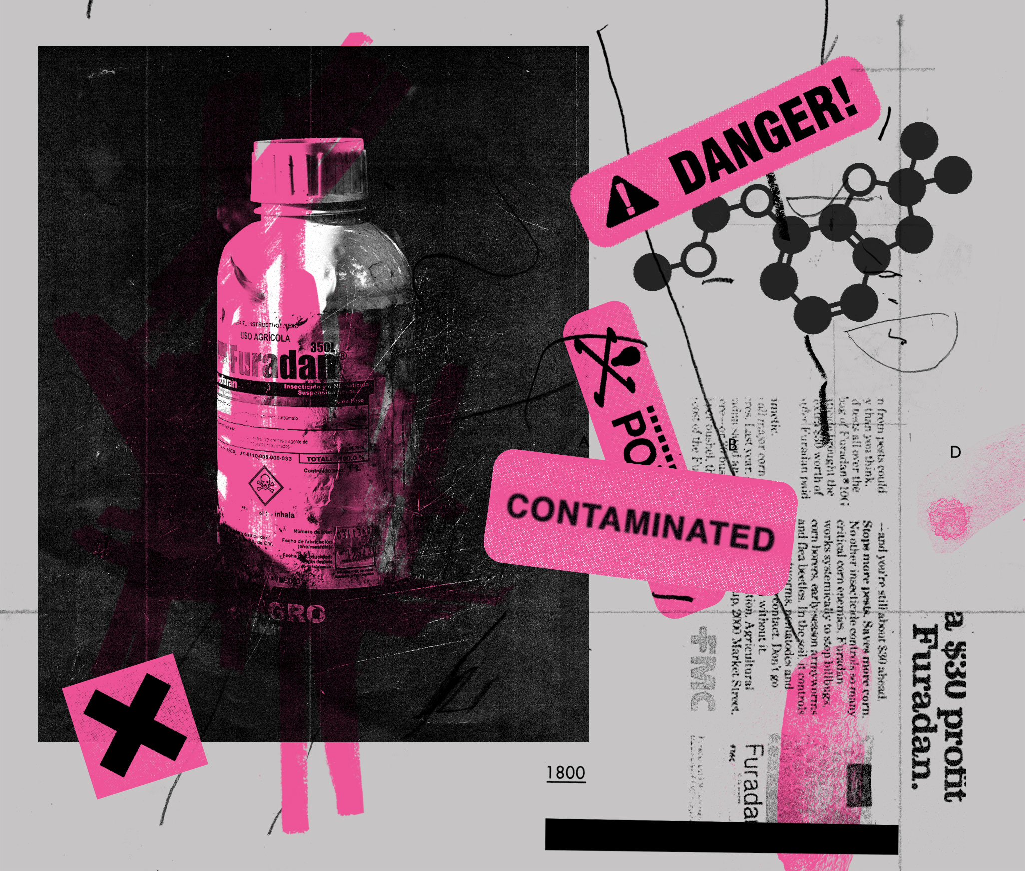 Sold in the United States under the trade name Furadan, the chemical pesticide carbofuran became an instant success for its inventor, agricultural company FMC. Illustration: Mike McQuade; Photos: Furadan Bottle, Morgan Heim; Carbofuran molecule: Molekuul/Science Source.