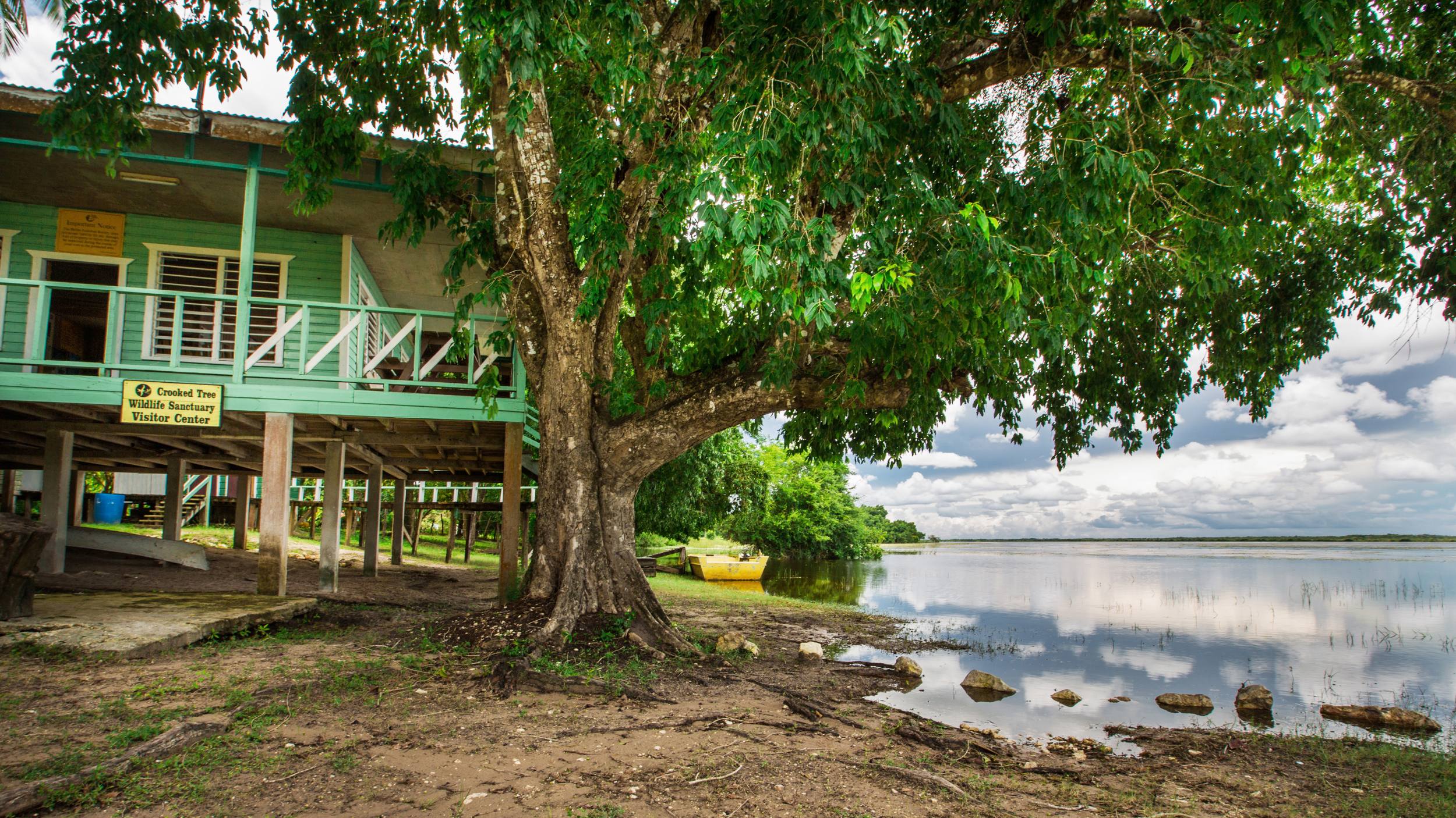 The Crooked Tree Visitor Center, which served as a base for the Belize Audubon Society and sanctuary rangers, prior to the fire. Tony Rath