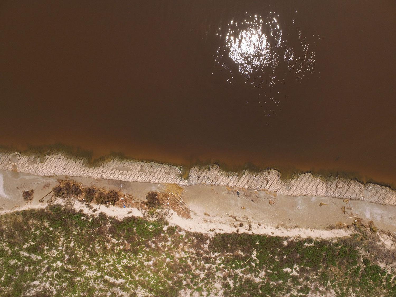 Sundown Island few days after the storm. Note the beach erosion along the shoreline. Courtesy of Audubon Texas