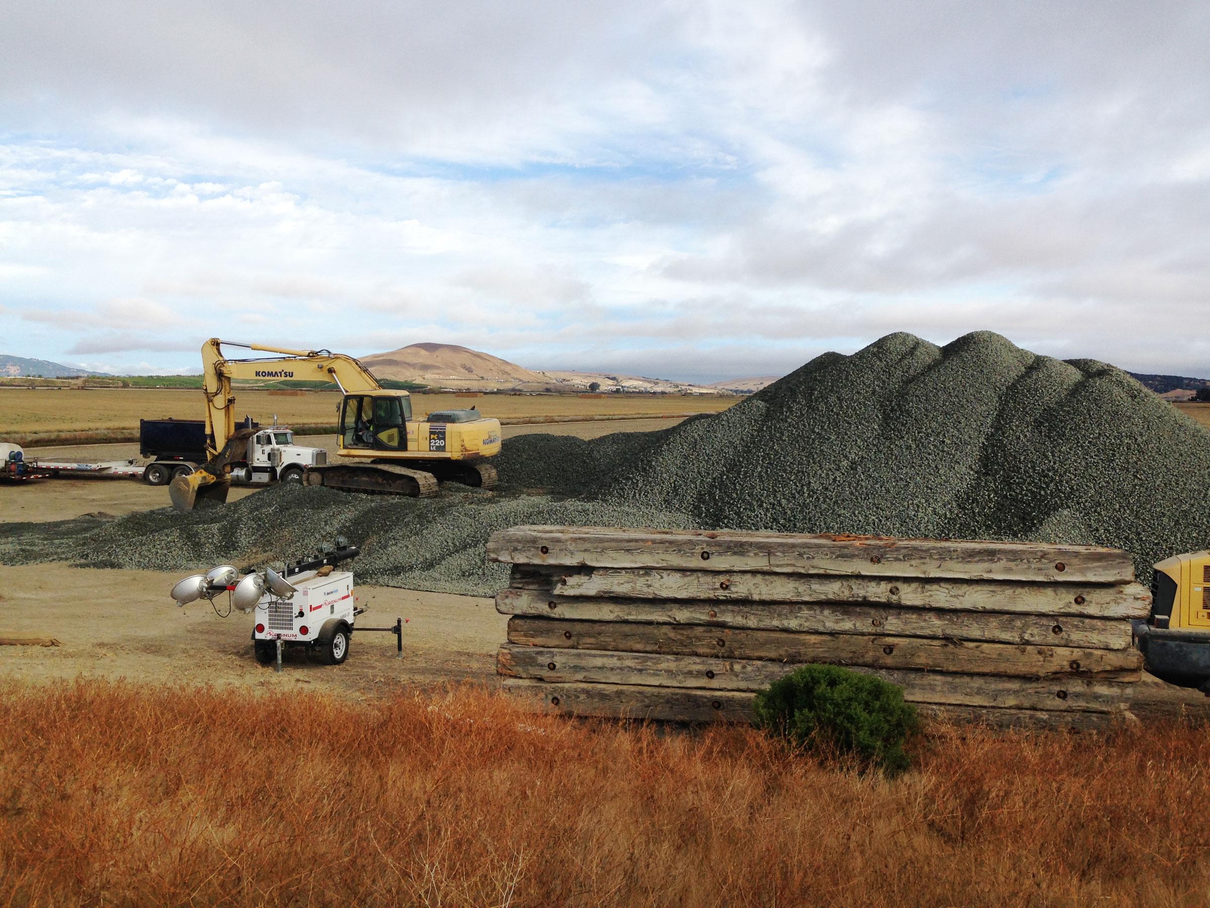 Nine thousand tons of drain rock is hauled into Sonoma Creek Marsh. Rachel Spadafore/Audubon