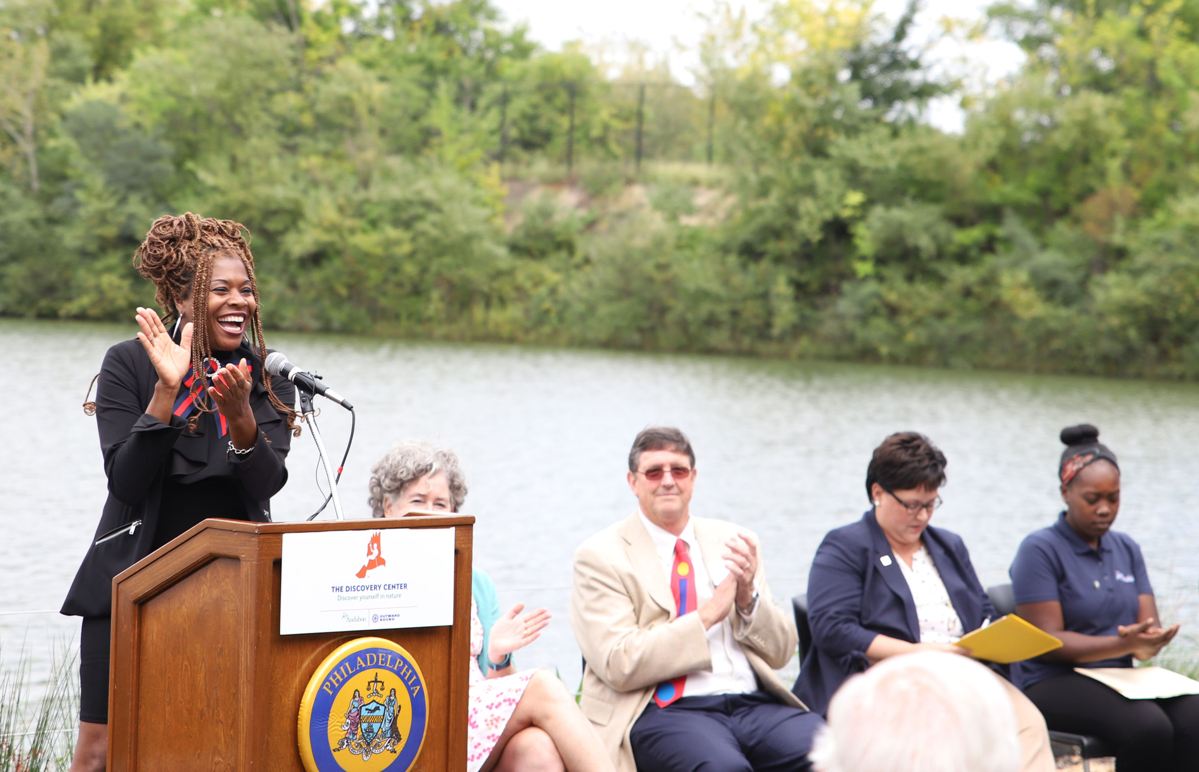 Tonnetta Graham gives the opening remarks at the Discovery Center ribbon cutting on September 28, 2018. Dominic Arenas/Audubon