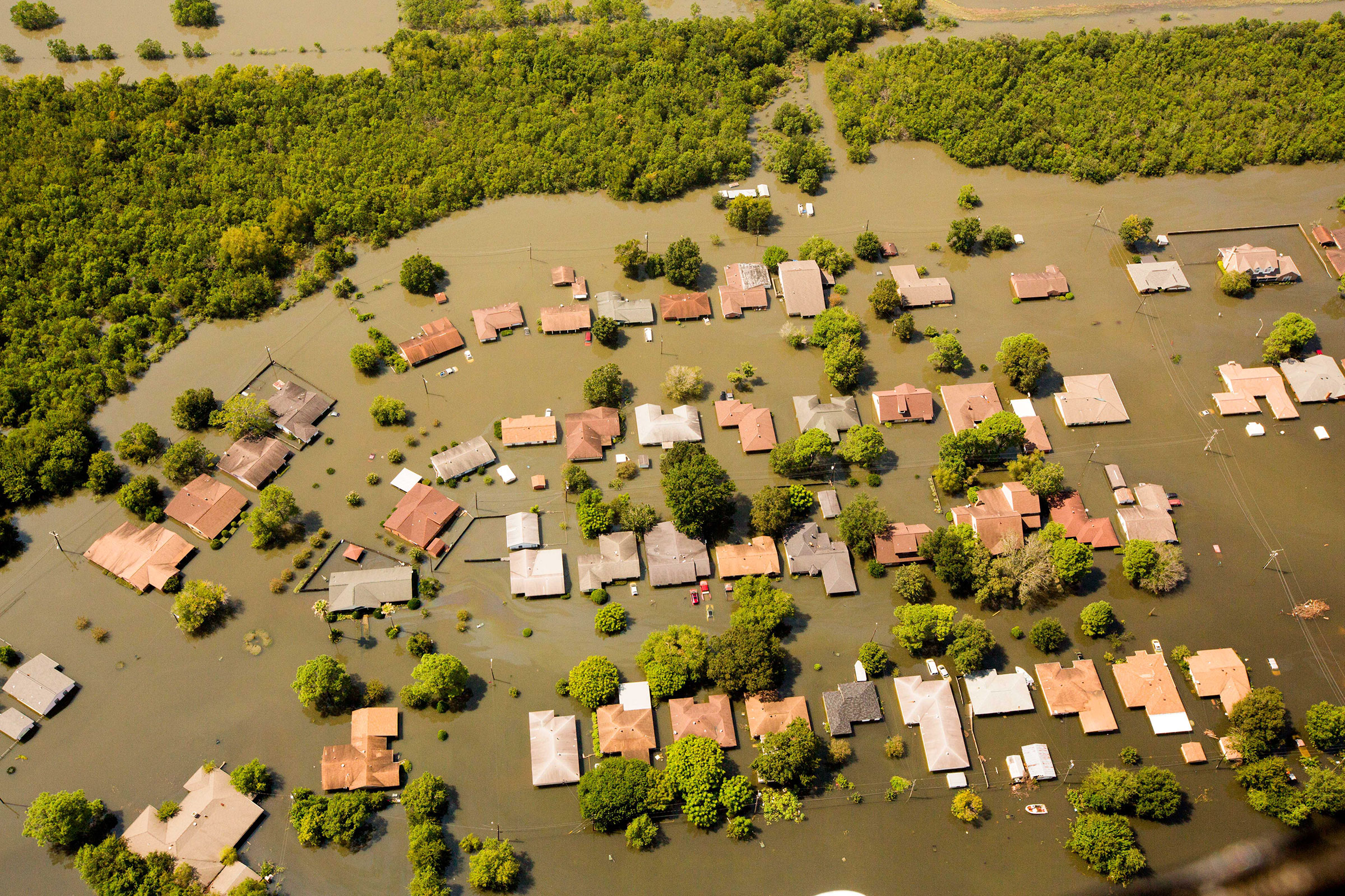 An aerial view of homes flooded by Hurricane Harvey in Beaumont, Texas. Zuma Press/Alamy