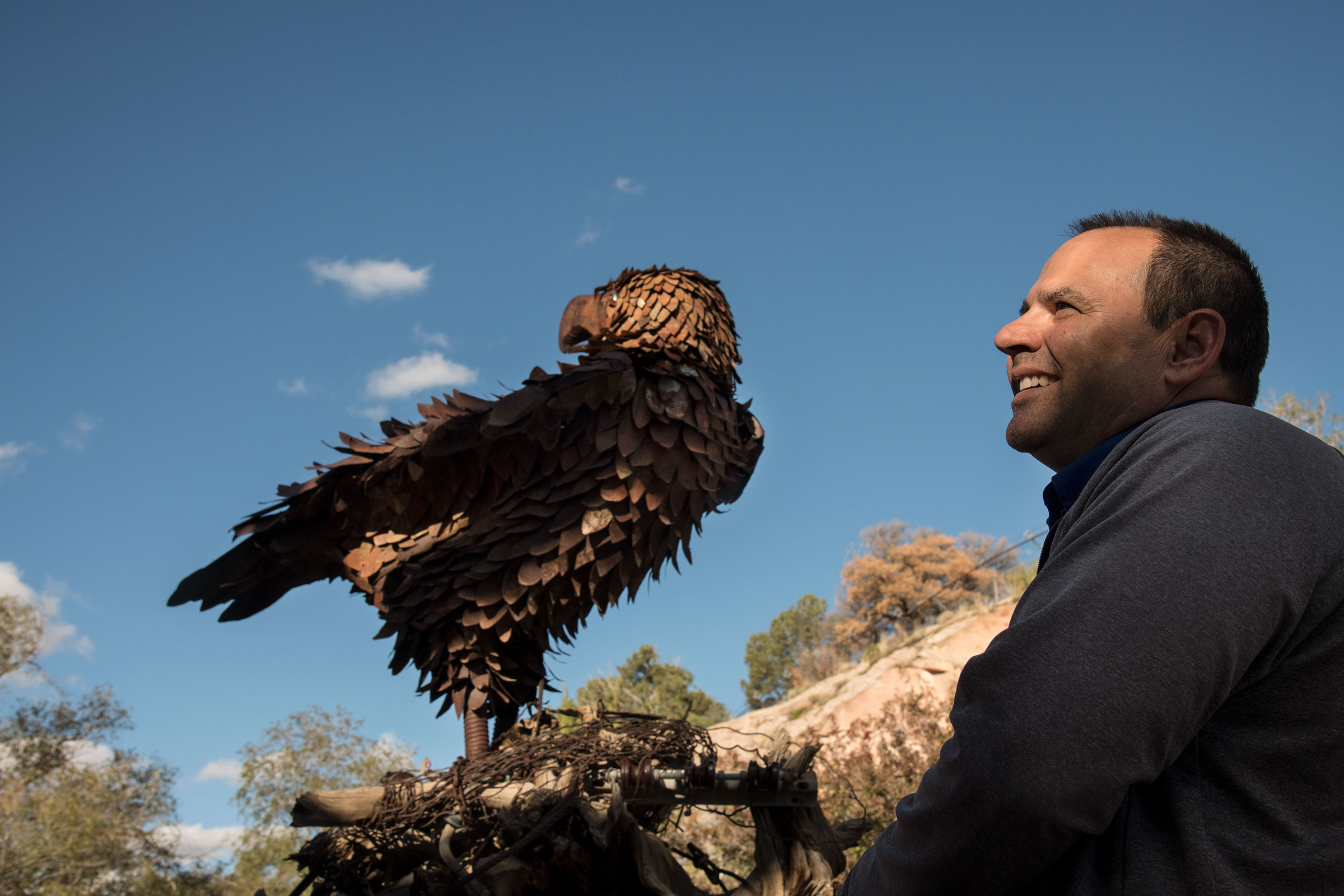 A Golden Eagle statue marks the entrance of the Navajo Nation aviary, managed by David Mikesic. Dawn Kish