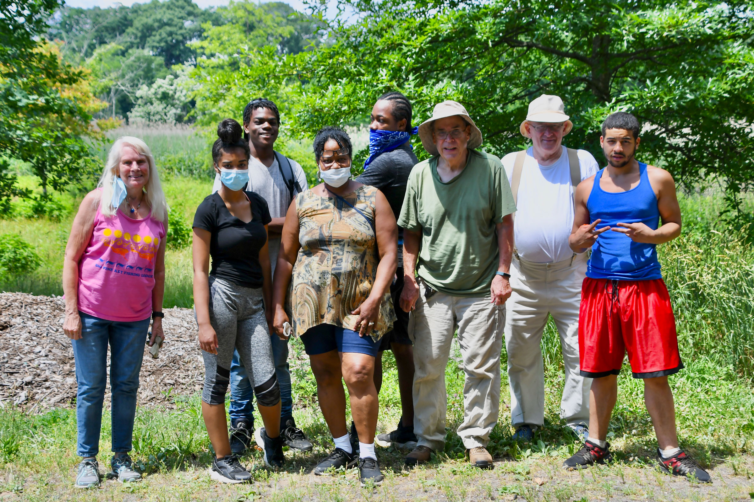 Volunteers and members of the Menunkatuck Audubon Society after a day of planting at the Urbanscapes Native Plant Nursery in New Haven, Connecticut. Courtesy of Menunkatuck Audubon Society