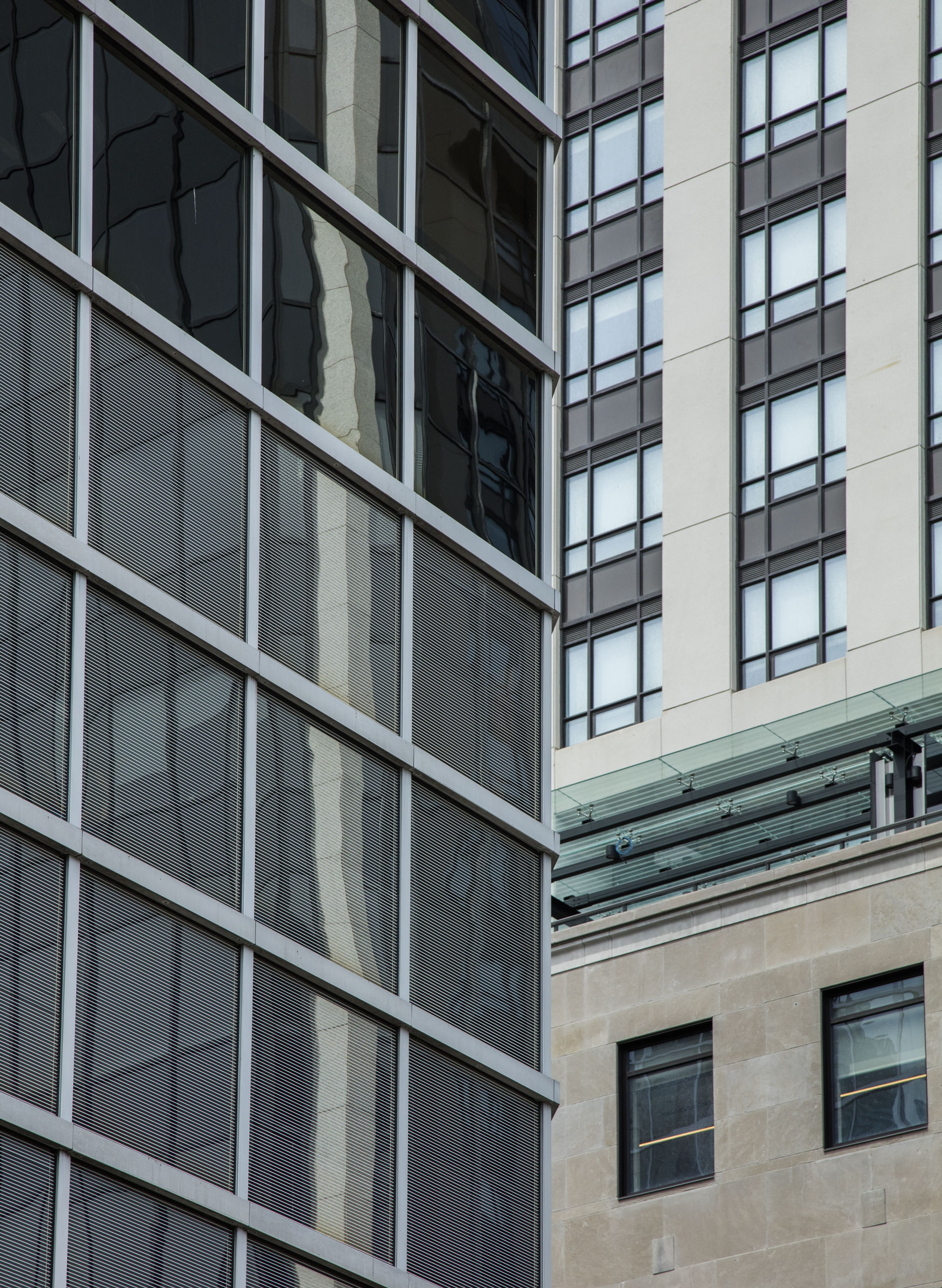 The etchings on the windows of this building in downtown Toronto resemble Venetian blinds and make the reflective surface visible to birds. Richard Barnes