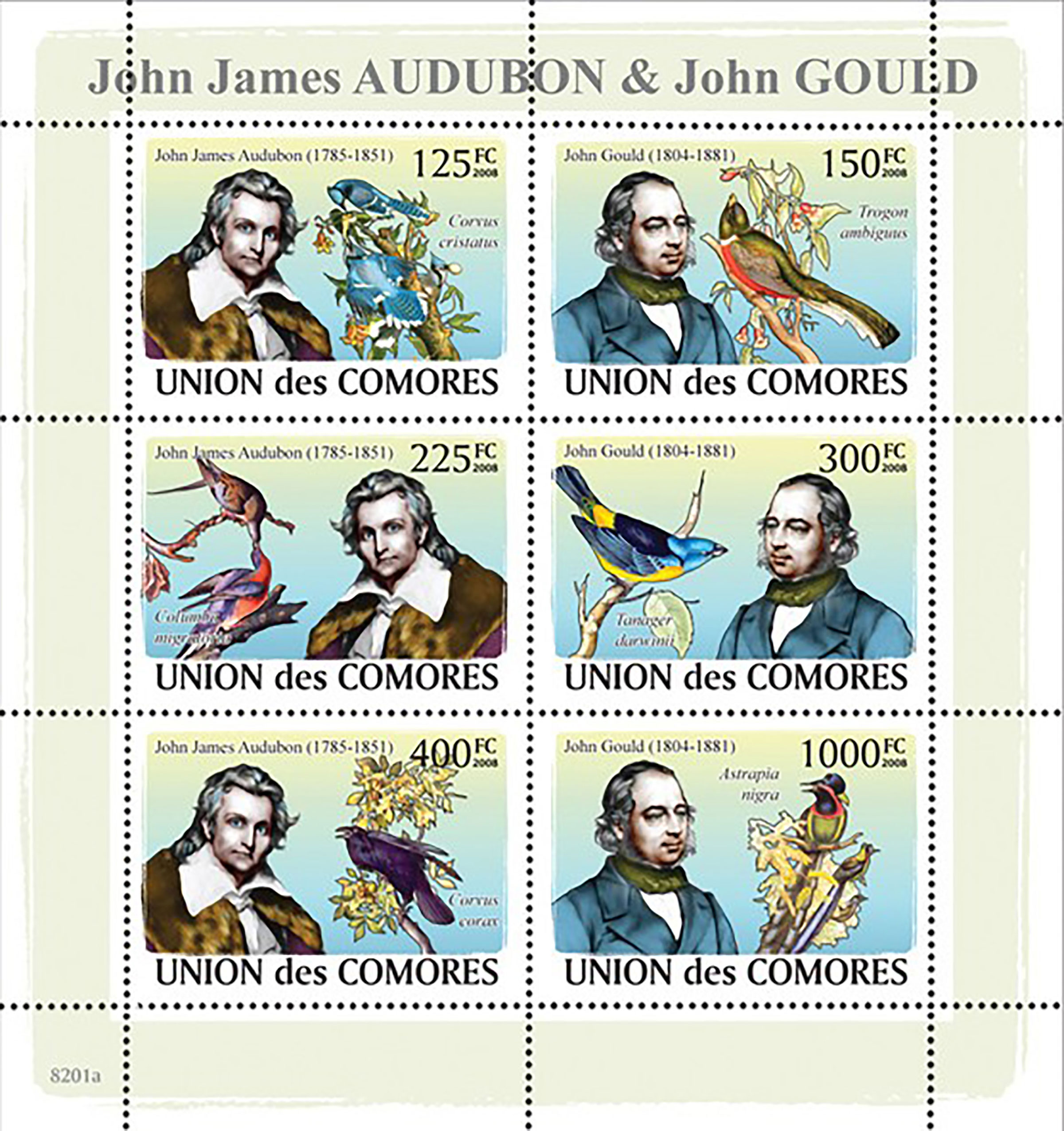 """The Comoro Islands in Africa honored John James Audubon and John Gould in a series of stamps called """"Ornithologists and Birds."""" Courtesy of World Stamp Show"""
