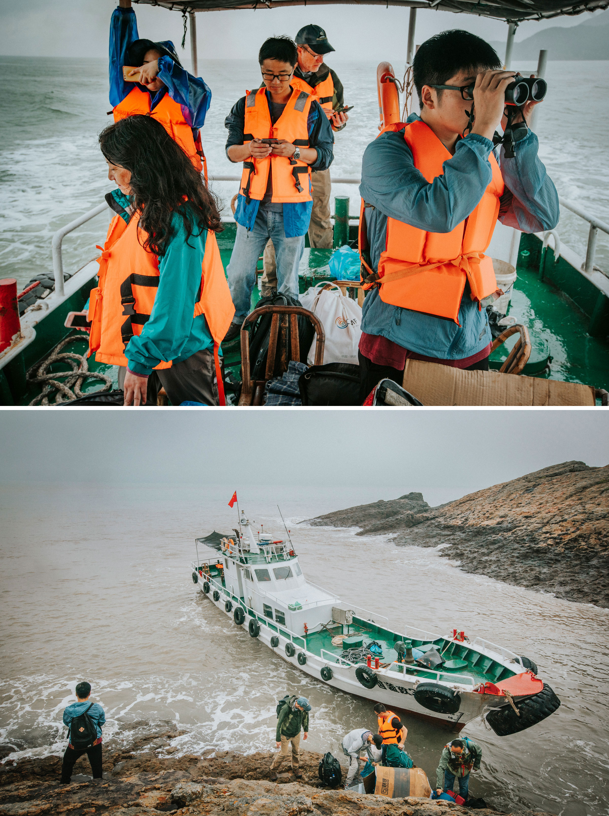 From top: Volunteer Cheng Qian (right) searches the skies for signs of Chinese Crested Terns as the team approaches the islet of Tiedun; the team unloads supplies. Photos: Morgan Heim