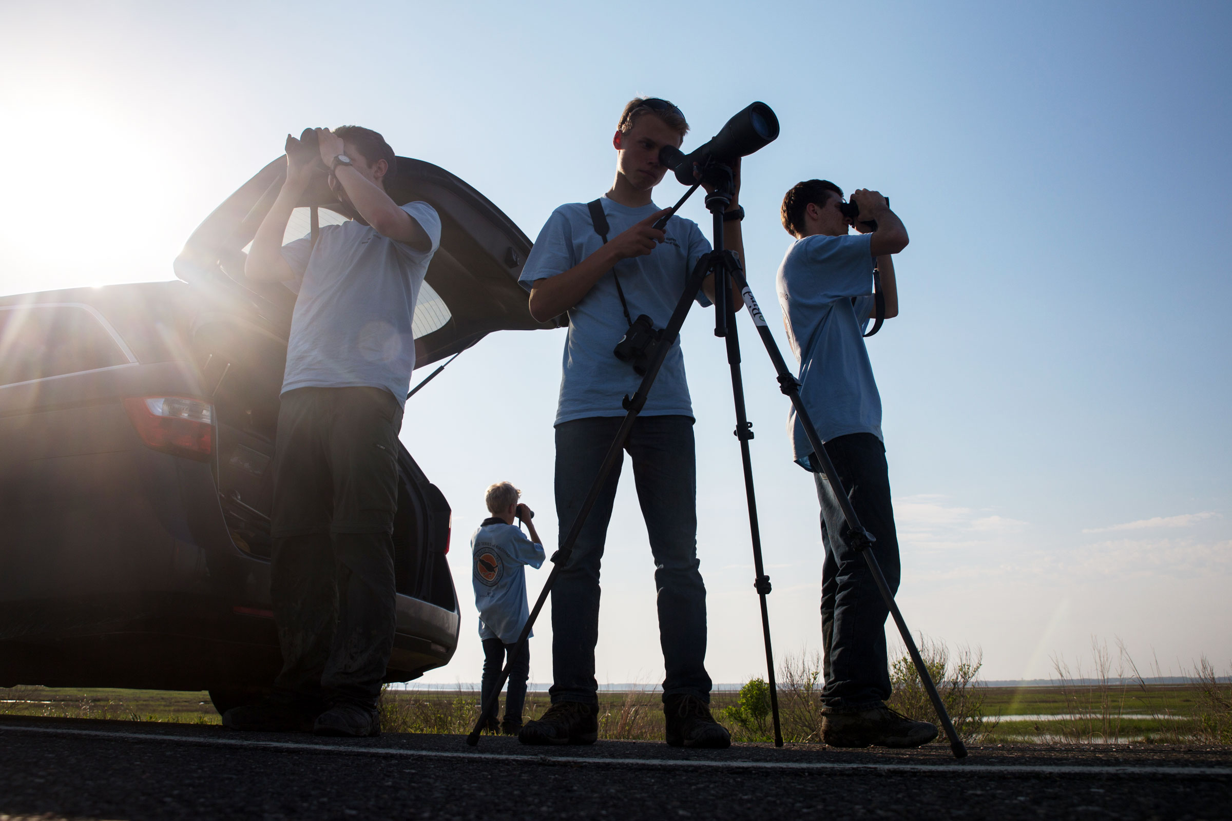 The Marsh Gigglers look out over Heislerville Wildlife Management Area in hopes of spotting a Northern Harrier. Camilla Cerea/Audubon