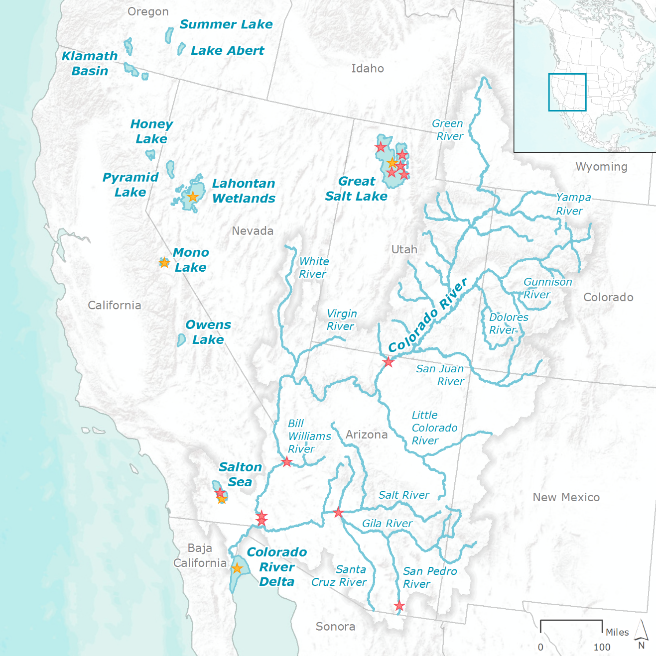 Map of Water Assets and IBAs in Western US